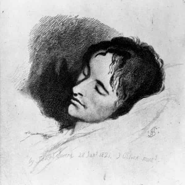 Portrait of John Keats (1795-1821) on his deathbed in Rome, painted by his friend Joseph Severn.