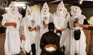 Students from Charles Sturt University Wagga Wagga posing as Klu Klux Klan members and in blackface in a picture posted to Instagram