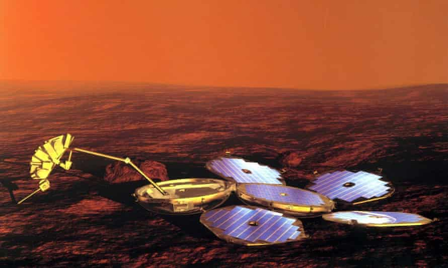 This artist's impression shows the Beagle 2 lander with all four solar panels unfurled. Scientists now believe that three if not all four of the panels did manage to deploy.