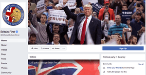 The Britain First Facebook page has been boasting about the president's retweets