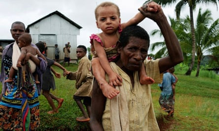 A woman and her granddaughter in Mougulu, in PNG's Western Province, which has been badly affected by drought