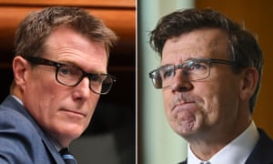 Attorney general Christian Porter (left) and acting immigration minister Alan Tudge. Allegations about the MPs' conduct were aired on the ABC's Four Corners program last month.