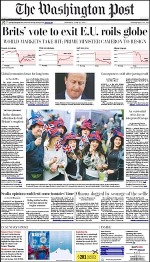 washington Post newspaper newspaper front page 25 June 2016 European Referendum David Cameron resignation
