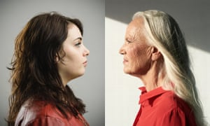 A young woman and an old woman in profile, looking at each other in a composite image