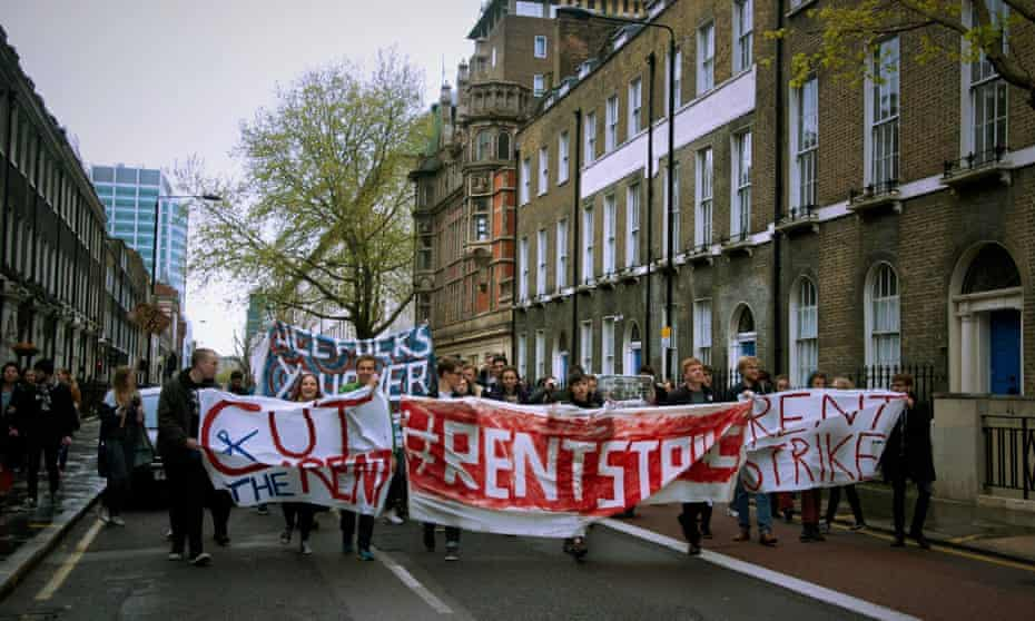 May 2016 UCL student rent strike protest