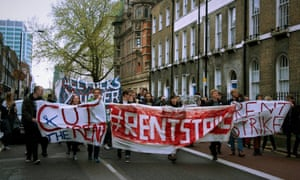 UCL students on a rent strike protest in May, 2016.