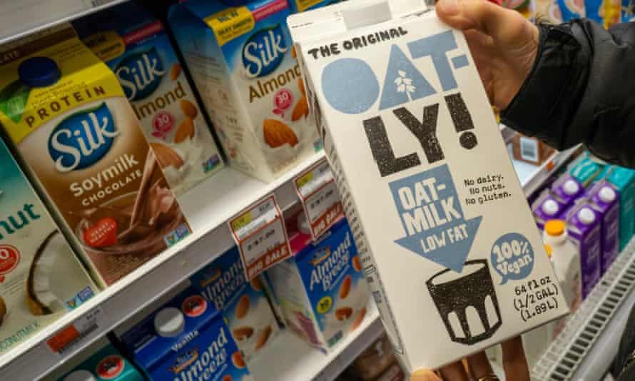 a shopper selects a bi=g pack of Oatly oat milk
