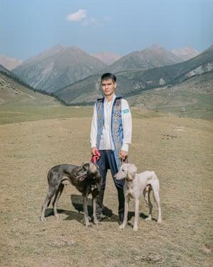 Kadirbarj Abylajkhan with his Tazy dogs.
