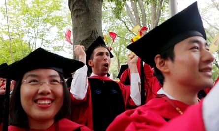 Philosophy students cheer during Commencement Exercises at Harvard University.
