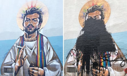 A before and after comparison of a mural by Scott Marsh of George Michael in Erskineville, Sydney.
