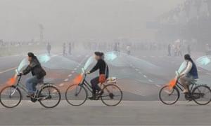 Daan Roosegaarde's anti-smog bicycles.
