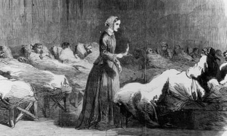 Florence Nightingale tending the sick and dying