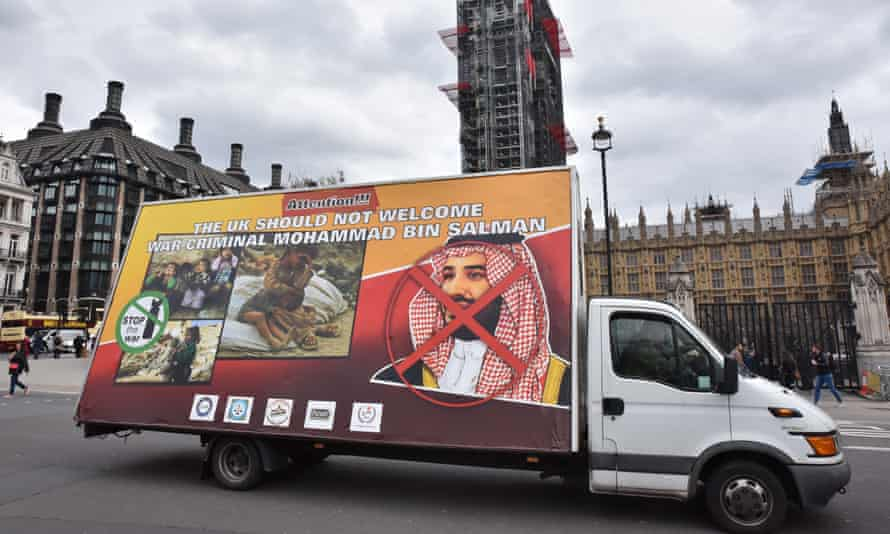 A lorry with a banner protesting against the visit by Prince Mohammed bin Salman in London on 5 March.