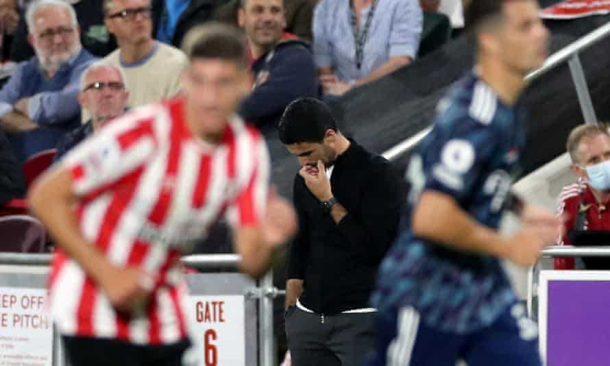 Mikel Arteta is downcast on the touchline as Arsenal lose at Brentford