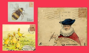 A selection of envelopes painted by Frederick Tolhurst and sent to his children Vera and Reginald.