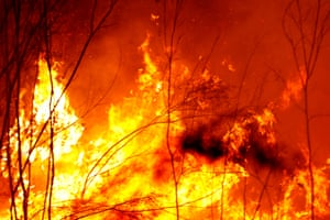 Bushfires burn between the townships of Bemm River and Cann River in eastern Gippsland on January 02, 2020, Australia.