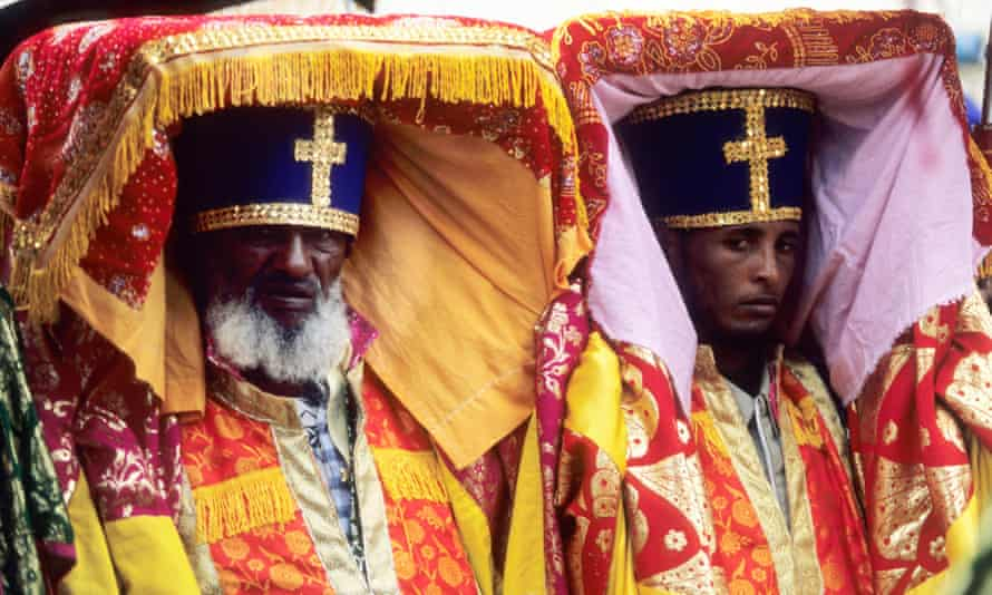 Ethiopian priests carry tabots during the Timket festival of Epiphany, celebrating the baptism of Christ.