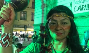 Tereza Arapiun, an indigenous leader from Pará state attends the climate strike demonstration in Rio de Janeiro.