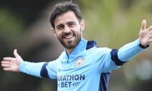 Bernardo Silva during a training session in Lisbon, in the lead-up to Manchester City's Champions League quarter-final against Lyon on Saturday.