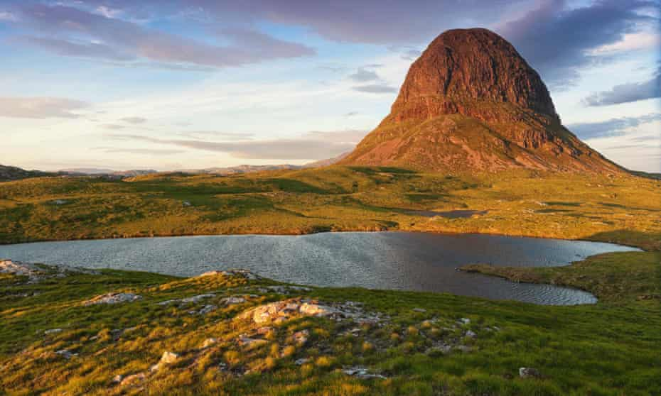 Suilven mountain at sunset in Scottish highland