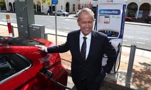Bill Shorten with an electric car