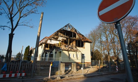 The burnt-out apartment that was once the home of Uwe Mundlos, Uwe Böhnhardt and Beate Zschäpe in Zwickau, Germany.