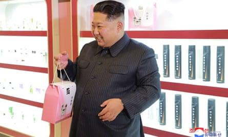 Kim Jong-un visits a cosmetics factory in Pyongyang.
