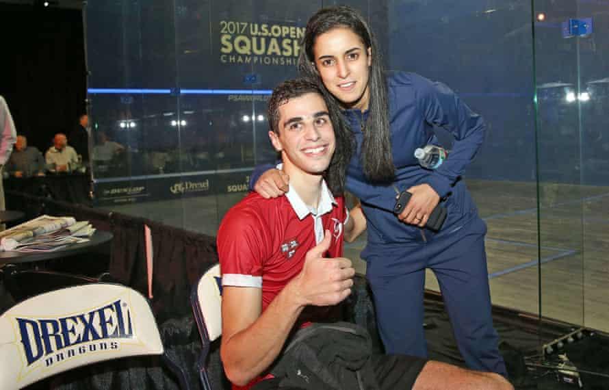 US Open squash champions Ali Farag and Nour El Tayeb.