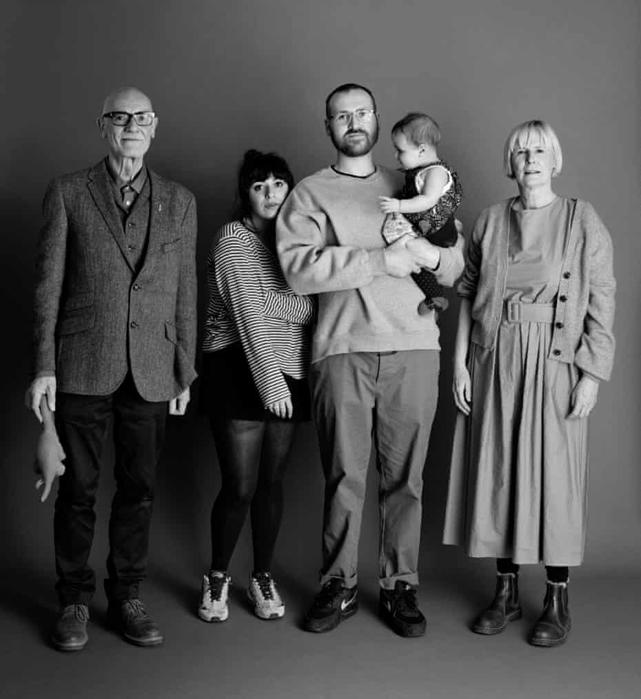 2021: Frank and Sue, 66, with Eddie, 30, his partner and their baby.