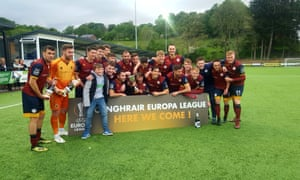 The Cardiff Met squad celebrate reaching the Europa League