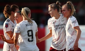 Arsenal have dangerous attacking option including Jill Roord (right), Vivanne Miedema (second right) and Beth Mead.
