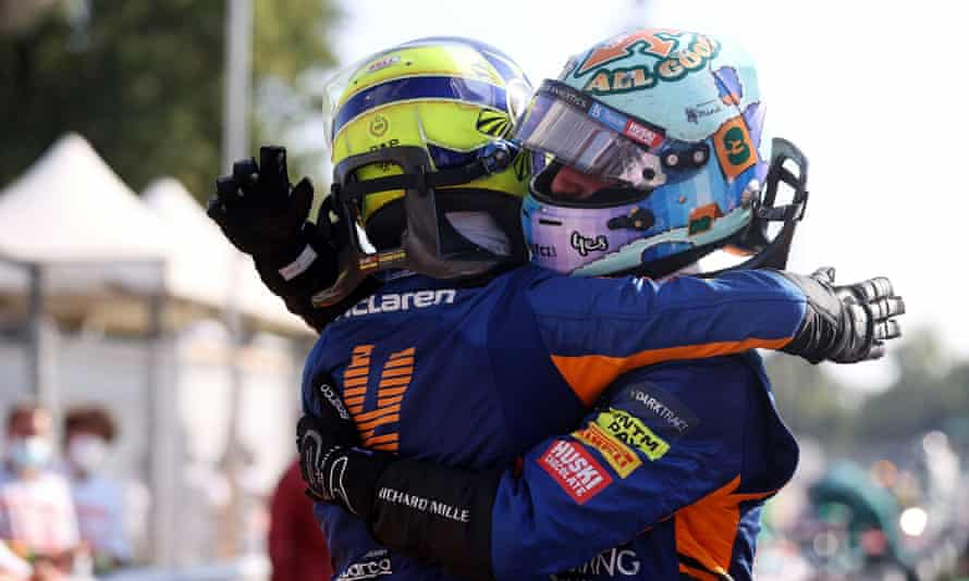 Daniel Ricciardo celebrates with Lando Norris after finishing first and second respectively