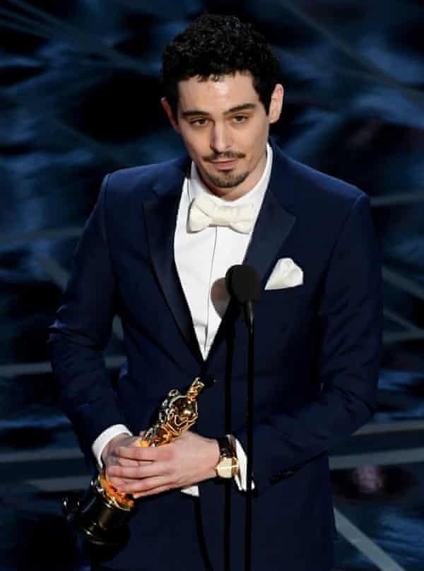 Damien Chazelle accepts the best director Oscar for La La Land in 2017.