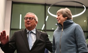 Jean-Claude Juncker, President of the European Commission welcomes British Prime Minister Theresa May at the European Parliament in Strasbourg, France.