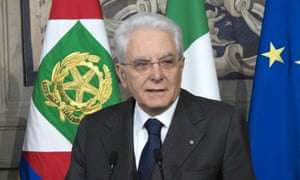 Italian president Sergio Mattarella talks to the media at the end of the second round of consultations, at the Quirinale Presidential Palace, in Rome.
