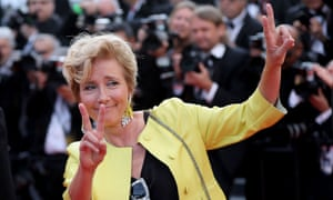 Emma Thompson flashses the victory sign as she arrives for the screening of the film 'The Meyerowitz Stories