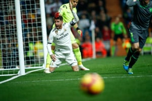 Sergio Ramos protests during the game.