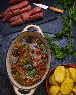 Coq au Vin Pig's trotter Simon Hopkinson Secret Ingredients OFM August 2019 Observer Food Monthly Food styling: Henrietta Clancy