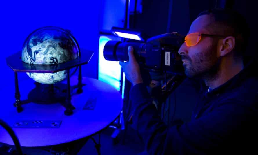 Digitally recording a globe at the British Library.