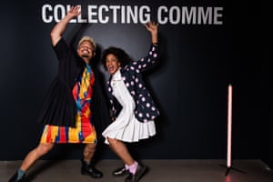 Erik Yvon and Karinda Mutabaz at the National Gallery of Victoria's fashion exhibition Collecting Comme