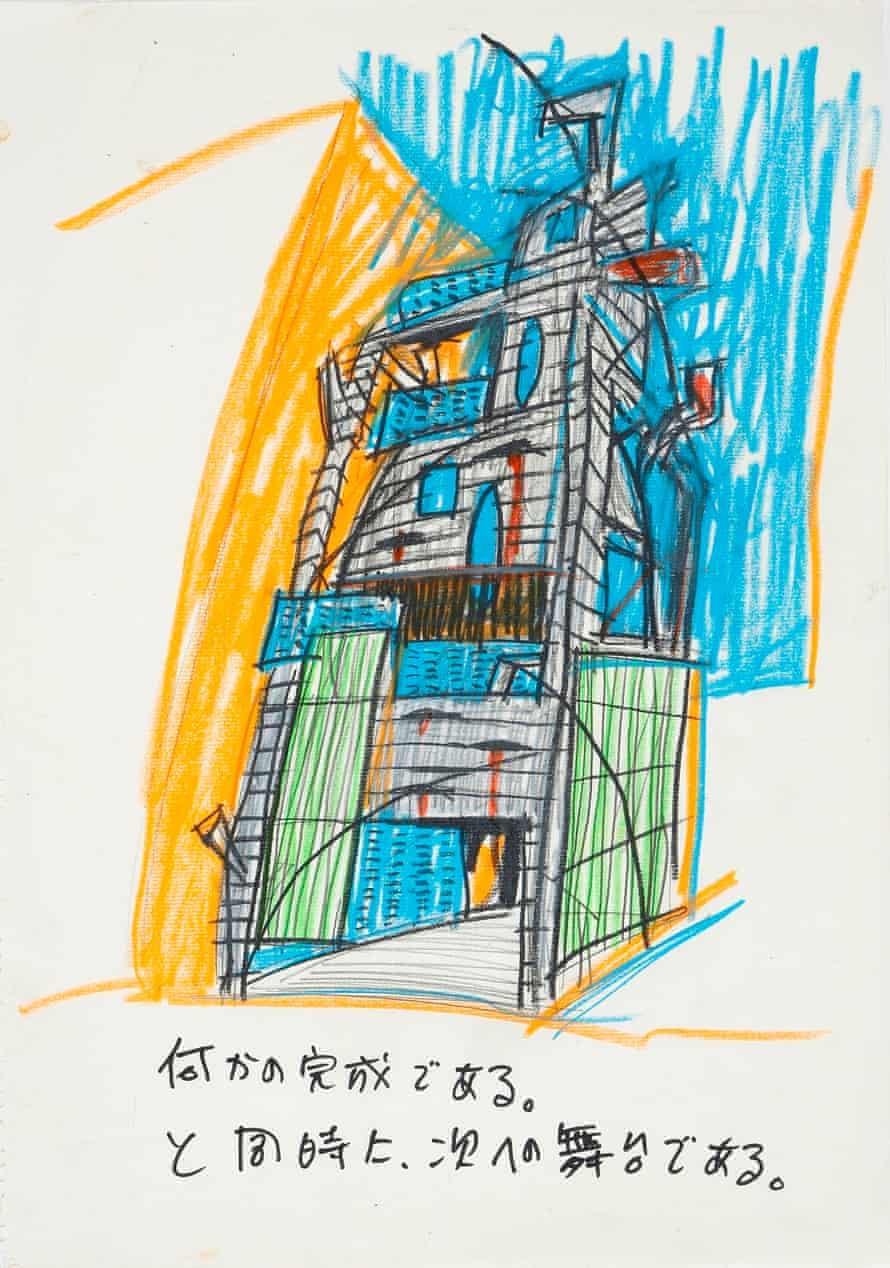 Keisuke Oka's concept drawing for the Arimaston Building, 2000 © Keizo Kioku