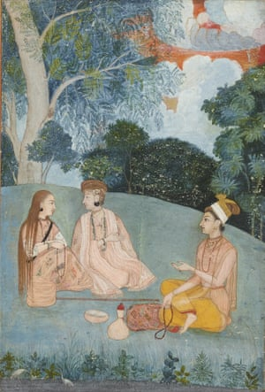 A woman visiting two Nath yoginis, North India, Mughal, c1750.