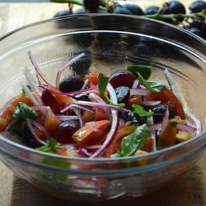Grape and tomato salad from TWO KITCHENS by Rachel Roddy, published by Headline Home 2017.