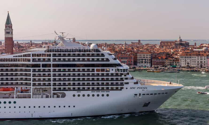 A cruise ship passing by the San Marco Square in the Giudecca canal, Venice, 2015.