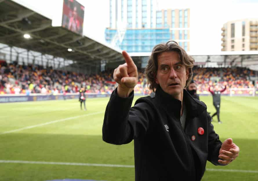 Brentford manager Thomas Frank thanks fans for their support after the match.