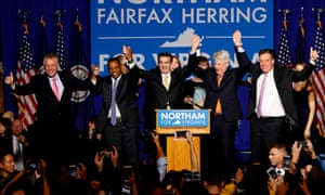Ralph Northam celebrates at his election night rally after winning the race for Virginia governor.