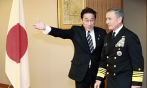 Harry Harris Jr, right, is escorted by Japanese foreign minister Fumio Kishida prior to their meeting at the in Tokyo last week.