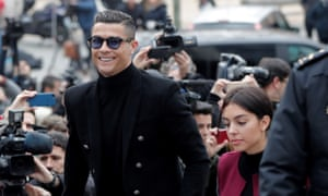 Cristiano Ronaldo arrives at court in Madrid with his fiancée, Georgina Rodriguez