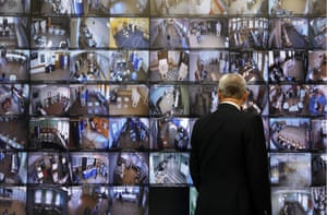 Screens at the information centre of the Russian central election commission in Moscow