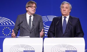 Antonio Tajani, president of the European parliament (right) and and the parliament's lead Brexit spokesman Guy Verhofstadt giving a press briefing after their talks with Theresa May